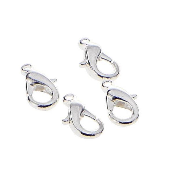 Karbinhakar/Karbinlås/Klolås (smyckeslås) 13mm Silverfärgade 30/ Silver