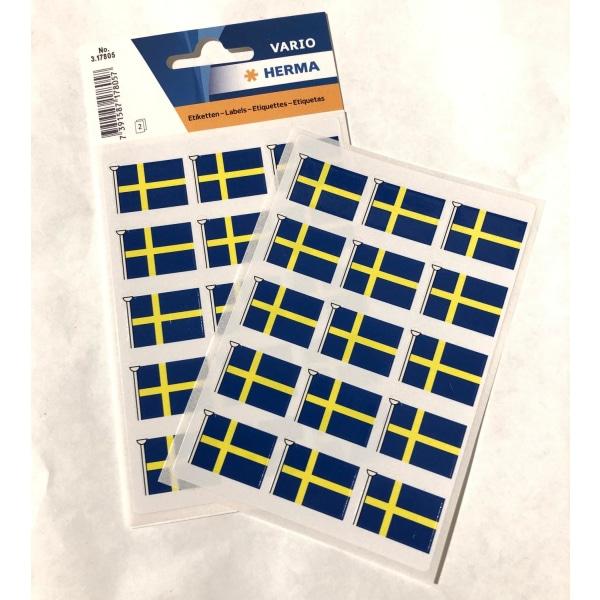 Stickers Herma flagga Sverige, Svenska flaggan, 30 flaggor/fp multifärg