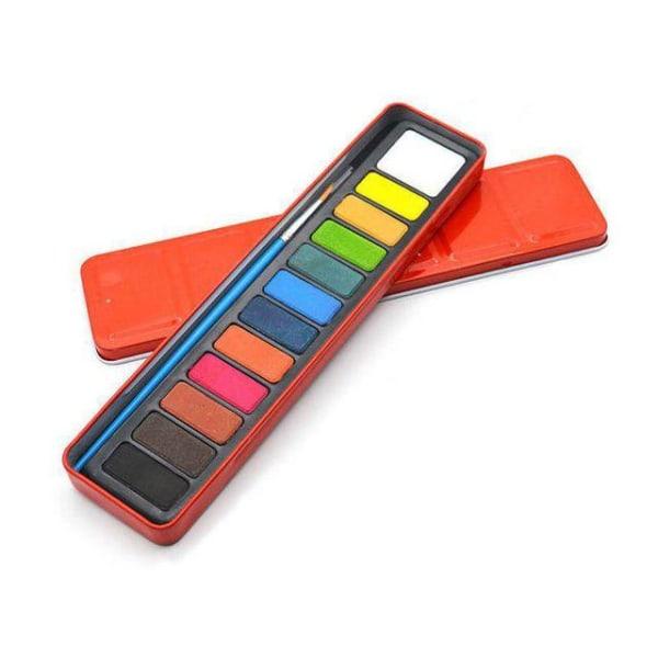 Akvarellåda/Akvarellfärg 12färger+pensel (extrastort vitt block) multifärg
