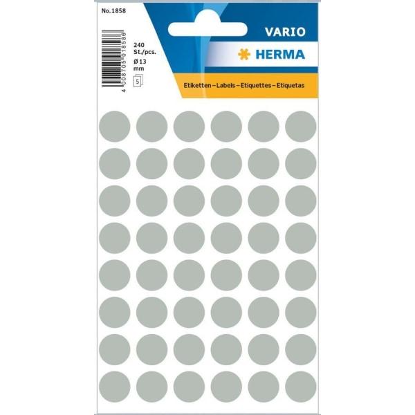 Mærketiket Herma Vario 1858 Ø 13mm Grå 240 / fp Grey
