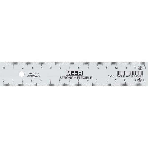 Lineal Strong + Fleksibel 15 cm cm / mm til højre-venstre hænder 1 / fp Transparent