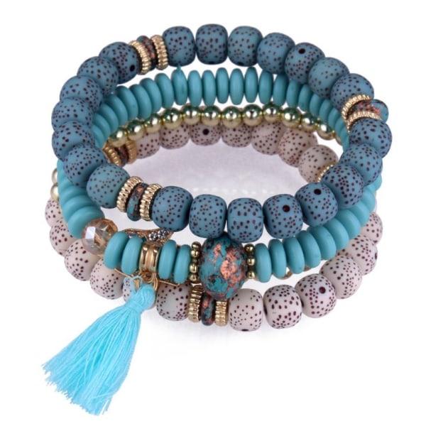 4st Armband  elastiska med pärlor Kristaller och Tassel