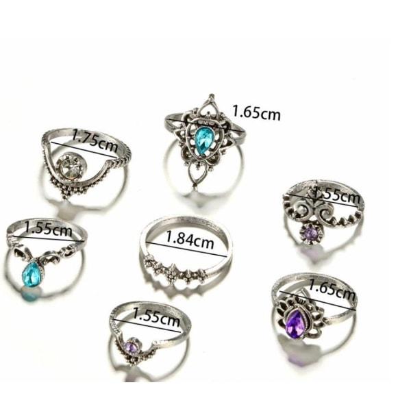 Boho Chic 7 pack Ringar Tibetsilver med kristaller