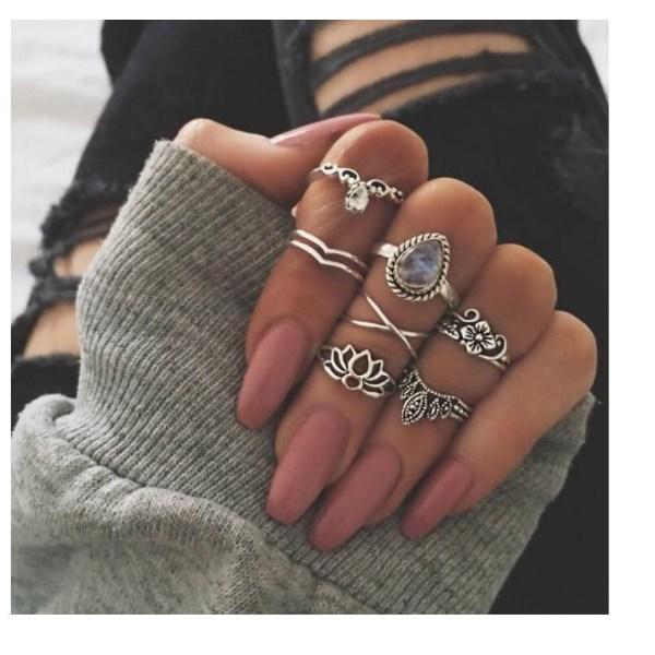 Boho Chic 7 stycken Ringar Kristaller och Silver