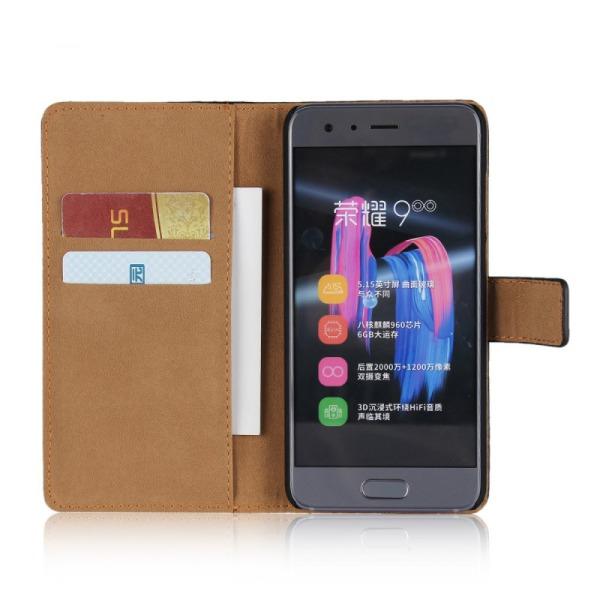 Plånbokfodral Huawei Honor 10, Äkta skinn Svart