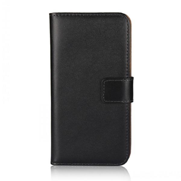 Plånboksfodral iPhone Xr, äkta skinn Svart