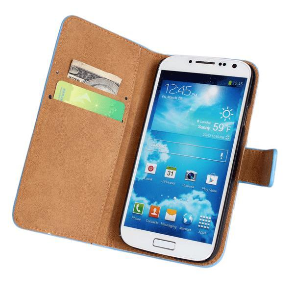 Plånboksfodral Samsung S4 Äkta skinn, Vit Vit