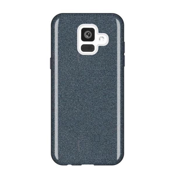 Glitterskal i gummi, Samsung A6-2018, Sort Black