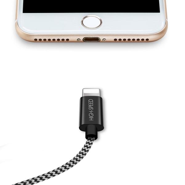 Dux Ducis Snabb Laddkabel, iPhone, 3 meter Svart
