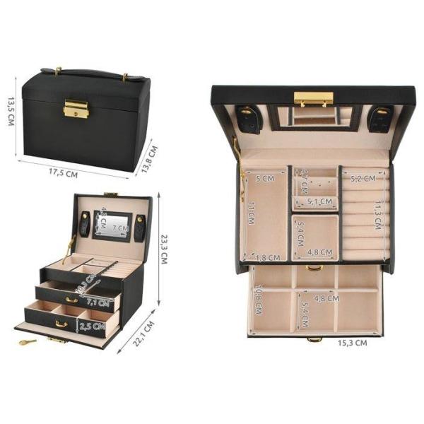 Smyckeskrin / Klockbox med 20 olika fack Svart