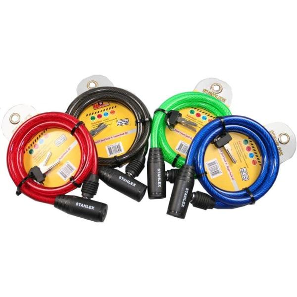 Stahlex Cykellås - 10mm x 90cm - Vajerlås multifärg