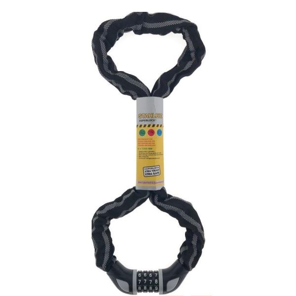 Stahlex cykellås - Kodlås - 6mm x 1.2m - Kedjelås Svart
