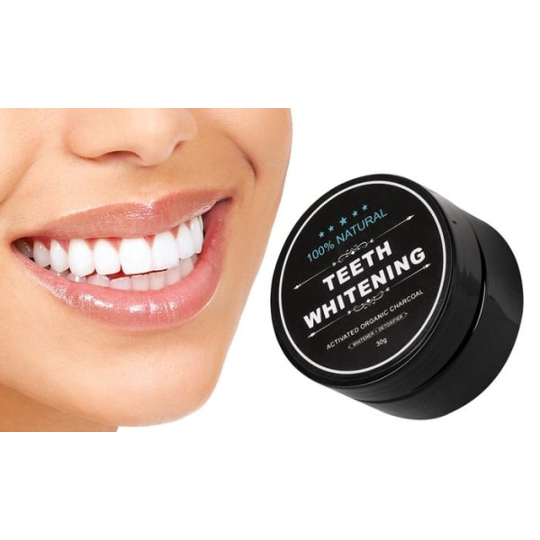 100% Naturlig Tandblekning - Teeth Whitening Charcoal (30 g) Svart
