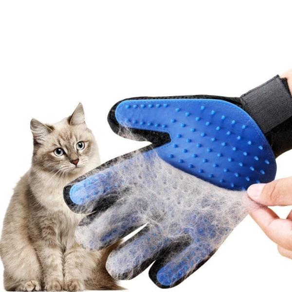Hund/Katt pälsvårdshandske för massage och avlägsnande av päls Blå
