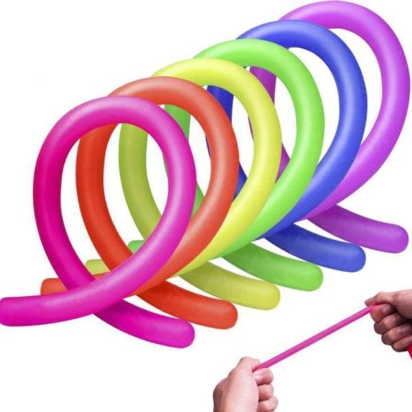 6-pak Stretchy Noodle String Neon Children Fidget Sensorisk lege Multicolor one size