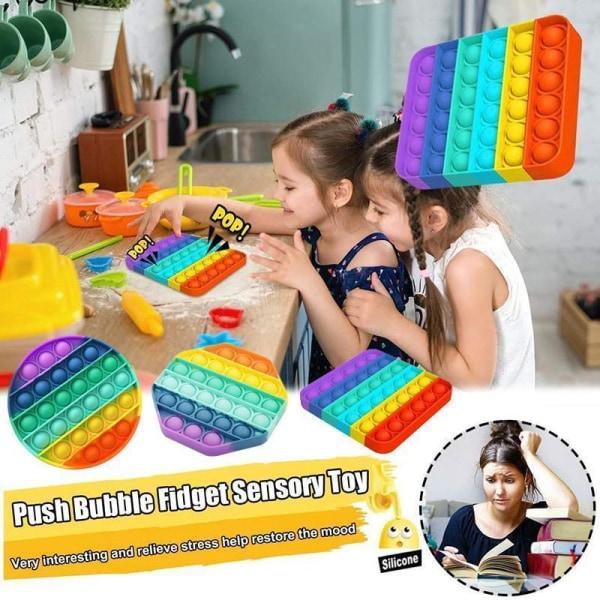 Pop It Fidget Toy Original - Octagon Rainbow - CE-godkendt Multicolor one size