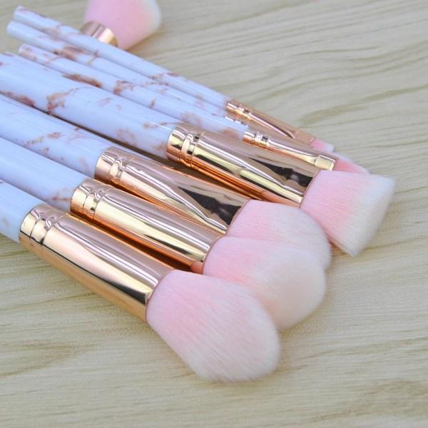 Pink Marble Handle 10 pcs. makeup brushes