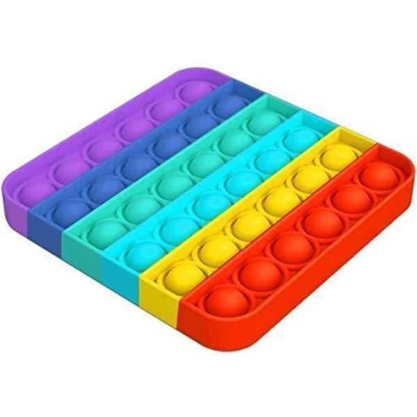 2-pakkaus Pop It Fidget Toy Original - Rainbow - CE-hyväksytty Multicolor one size