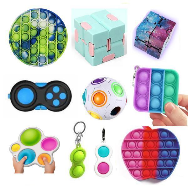 New PRO set - 10 st. Fidget Legetøjssæt til børn og voksne - Nyh Multicolor one size