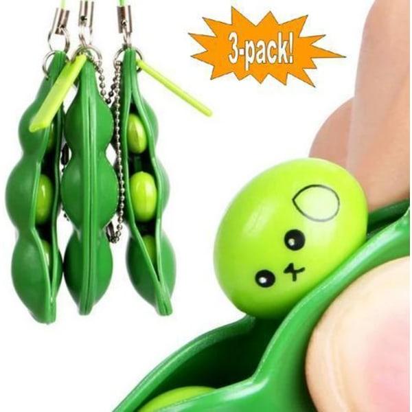 3-pakke - grønne bønner - bønner - fidget-legetøj - legetøj / se Green one size