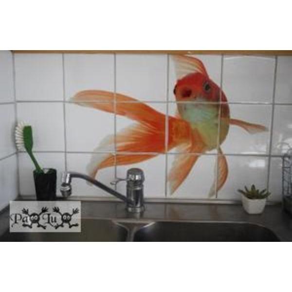 Självhäftande Kakeldekor Stor Guldfisk
