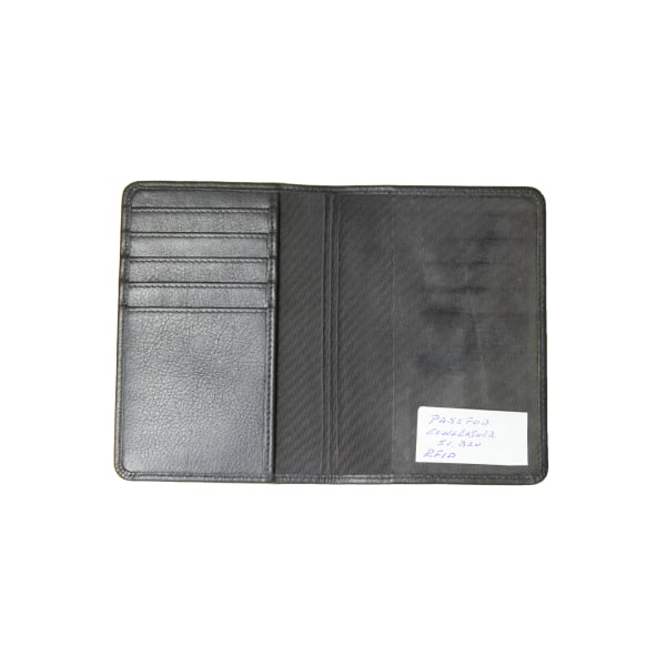 Passfodral, RFID-säker, Äkta kalvskinn svart