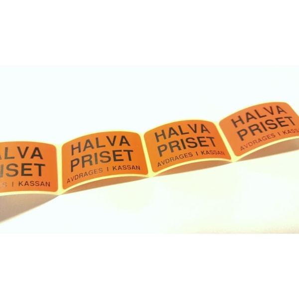 20 stycken etiketter HALVA PRISET AVDRAGES I KASSAN