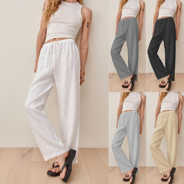 Women's Elastic Pants High Waisted Loose Loose Leg Straight Leg White,L