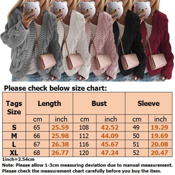 Women Solid Color Cardigan V Neck Cardigan Loose Sweater Top Grey S