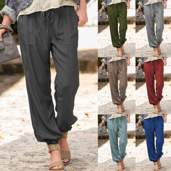 Women's Casual Harem Pants Elastic Waist Trousers Sweatpants Army Green,L