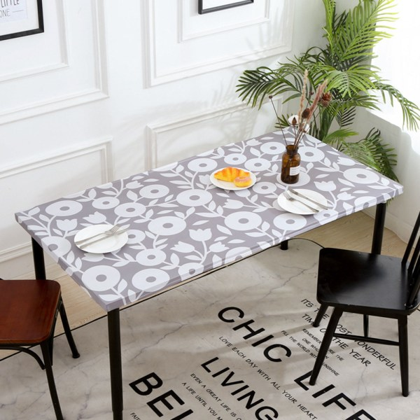 Rectangle Tablecloth Oil-Proof Waterproof Table Cloth Cover 4# Gray Floral 61x122cm