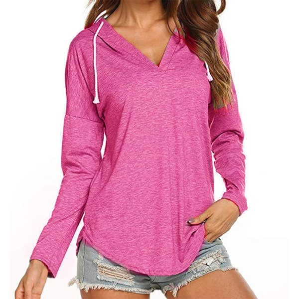 Women's V-neck Long Sleeve Loose T-shirt Top Casual Hoodie rose Red,S