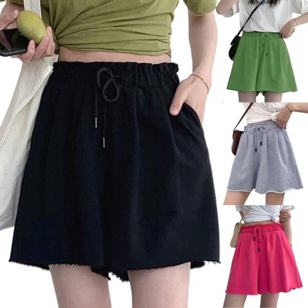 Women's Summer Shorts Casual Wide Leg Elastic Waist Drawstring Red,S