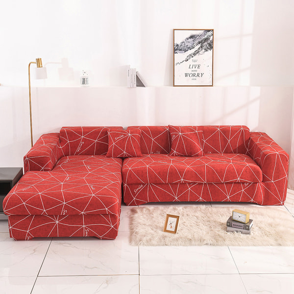 1-4 Seats Stretch Sofa Cover Couch Lounge Slipcover Protector Geometry Space-red,1 Seater