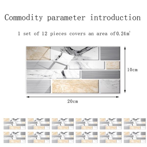 12/24/48 Pcs Tile Stickers Self-Adhesive Wall Decals Waterproof Gray Marble,12 pcs