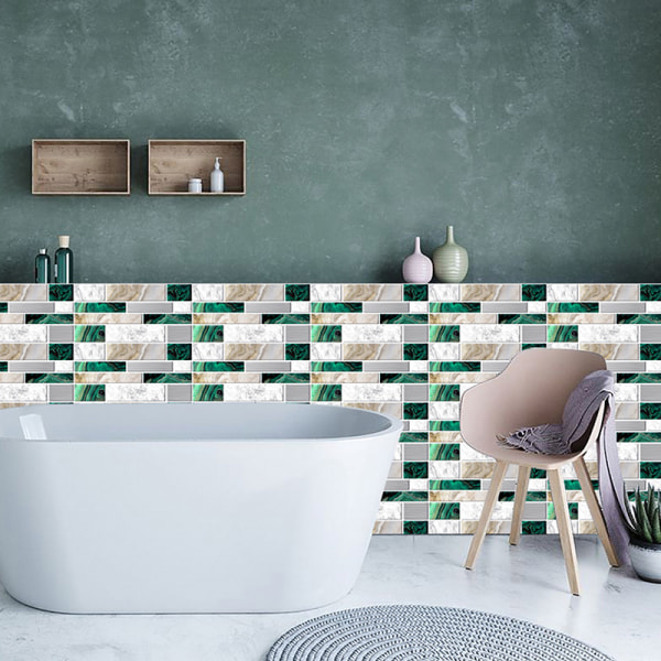12/24/48 Pcs Tile Stickers Self-Adhesive Wall Decals Waterproof Green Marble,12 pcs