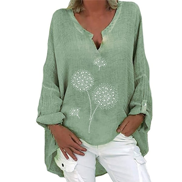 Women Baggy Boho Cotton Linen Shirts Roll Tab Sleeve Blouse Tops Green Dandelion 3XL