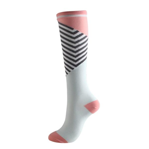 1Pair Compression Socks 15-20mmHg Graduated Support Men Women Pink and black stripe L / XL