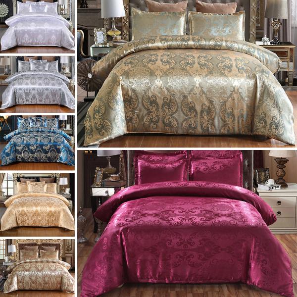 2/3Pcs Duvet Cover Set Queen King Size Bedding Set w/ Pillowcase 3Pcs/Set Gold,Double 200x200cm
