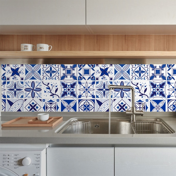 20Pcs Retro Tile Stickers Self Adhesive Home Decor Waterproof Royal Blue 15x15cm