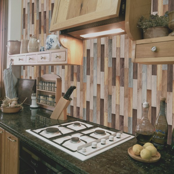 20Pcs Wood Grain Tile Floor Wall Stickers Self Adhesive Bathroom 3# 10x10cm