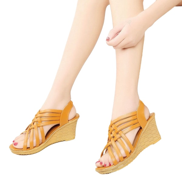 Women's Wedge Platform Sandals Open Toe Wedge Shoes Breathable Brown 40