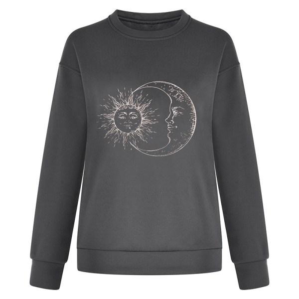 Women Fashion Round Neck Sweatshirt Long Sleeve Pullover T Shirt Grey S