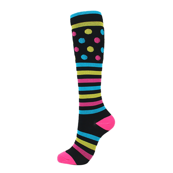 2x Compression Socks Unisex Nursing Travel Sports Stocking Dots Striped S / M