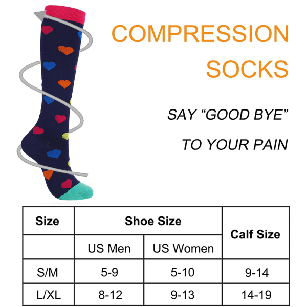 2x Compression Socks Unisex Nursing Travel Sports Stocking Black Ribbon L / XL