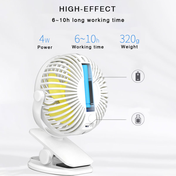 3 Speeds USB Rechargeable Cooling Fan Portable black