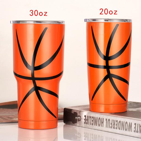 30 oz/20 oz Stainless Steel Double Wall Tumbler Straw Cup Orange 20 oz