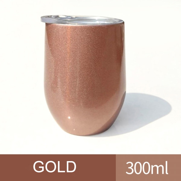 300ML Double Walled Tumbler Cup w/ Straw Insulated Cup Golden