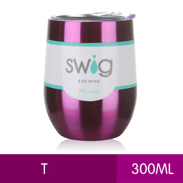 300ML Double Walled Tumbler Cup w/ Straw Insulated Cup Purple T