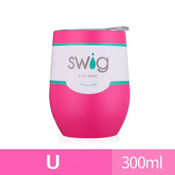 300ML Double Walled Tumbler Cup w/ Straw Insulated Cup Red U